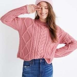 Madewell L Pink Wool Slope Cable Knit Sweater